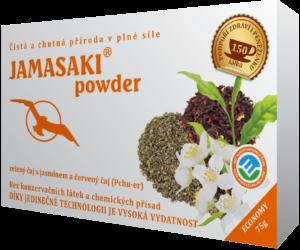 Jamasaki powder - Drcený zelený čaj obohacený chutí a vůní jasmínu. Zklidňuje mysl i duši a podporuje klidný spánek.