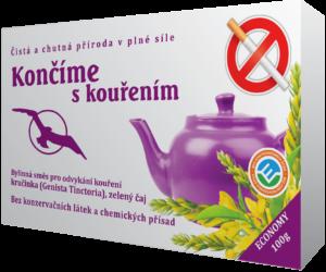 Souprava pro odvykání kouření. Účinná bylina Genista Tictorial aneb kručinka barvířská. Dochází k vytěsnění nikotinu z těla, zbavuje kuřáka závislosti.