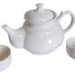 Konvička na čaj bílá a misky