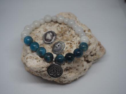 Náramek Apatit & Měsíční kámen