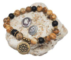 Náramek z minerálů - obrázkový jaspis a onyx - Zdravé čaje Hannasaki