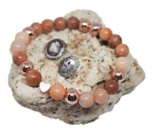 Náramek z minerálů - avanturín růžový a hematit - Zdravé čaje Hannasaki