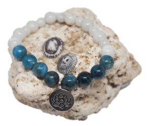 Náramek z minerálů - apatit & Mměsíční kámen - Zdravé čaje hannasaki