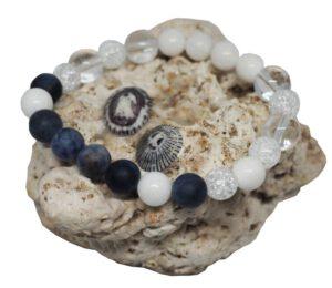 Náramek z minerálů - sodalit a praskané korálky - Zdravé čaje Hannasaki