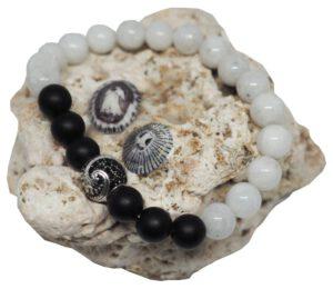 Náramek z minerálů - onyx & měsíční kámen - Zdravé čaje Hannasaki